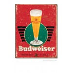Budweiser Anheuser-Busch Vintage Glass Tin Sign
